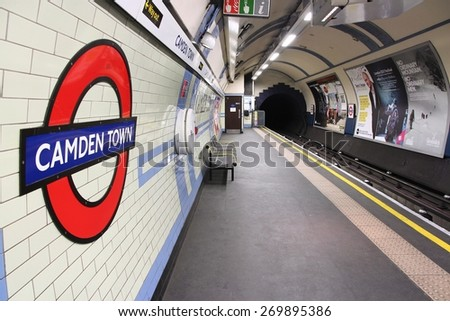 LONDON, UK - MAY 15, 2012: Camden Town underground station in London. London Underground is the 11th busiest metro system worldwide with 1.1 billion annual rides. - stock photo