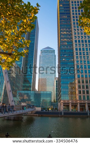LONDON, UK - May 18, 2015:  Canary Wharf business and banking district