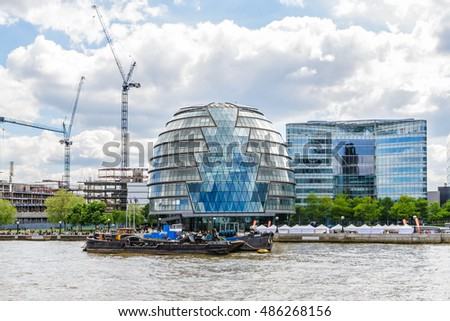 LONDON, UK - MAY 25, 2013: Capital and most populous city in England - London: views from the River Thames.