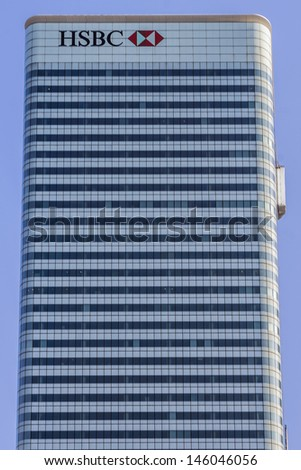 LONDON, UK - MAY 30: HSBC UK Head Quarter on May 30, 2013 in London, UK. HSBC's World Head Quarters based in Canary Wharf is the world's third-largest bank and sixth-largest public company. - stock photo