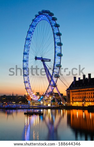 London, UK - May 19, 2011: London skyline with London Eye over river Thames. - stock photo