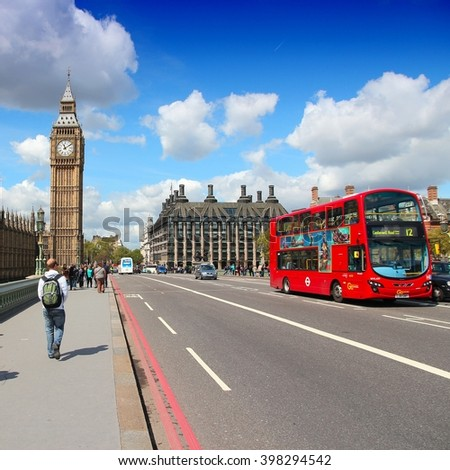 LONDON, UK - MAY 16, 2012: People walk towards Big Ben in London. With more than 14 million international arrivals in 2009, London is the most visited city in the world (Euromonitor). - stock photo