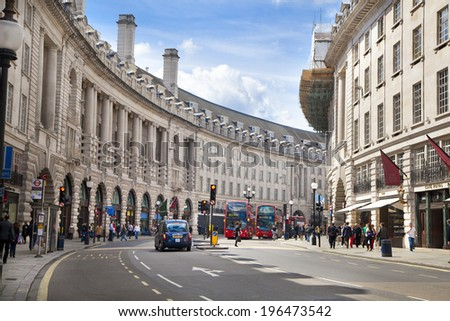 LONDON, UK - MAY 14, 2014: Regent street, Piccadilly circus junction - stock photo