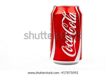 LONDON, UK - MAY 6TH 2016: A can of Coca Cola drink isolated over a plain white background, on 6th May 2016.  The drink is produced and manufactured by The Coca-Cola Company.