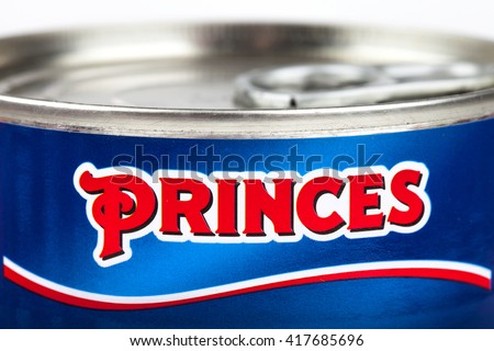 LONDON, UK - MAY 6TH 2016: A close-up of the Princes logo on one of their food products, on 6th May 2016.
