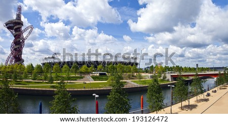 LONDON, UK - MAY 15TH 2014: A panoramic view of the Queen Elizabeth Olympic Park in London on 15th May 2014. - stock photo