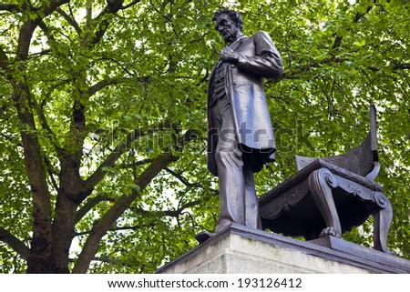 LONDON, UK - MAY 15TH 2014: A statue located in Parliament Square in London of Abraham Lincoln - former President of the United States of America on 15th May 2014. - stock photo
