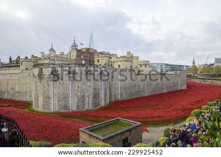 LONDON, UK - NOVEMBER 08: 'Blood Swept Lands and Seas of Red' installation at Tower of London. November 08, 2014 in London. The ceramic poppies were planted to mark the centenary of WWI's outbreak. - stock photo