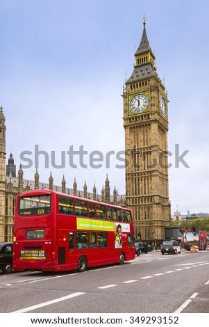 london uk november 8 red bus and big ben on november 8