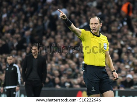 LONDON, UK - NOVEMBER 2, 2016: Swedish referee Jonas Erikson  pictured during the UEFA Champions League Group E game between Tottenham Hotspur and Bayer Leverkusen on Wembley.