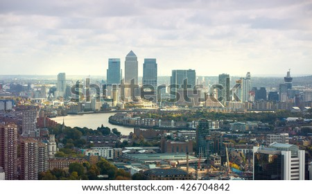 LONDON, UK - OCTOBER 14, 2015. Canary Wharf and River Thames - stock photo