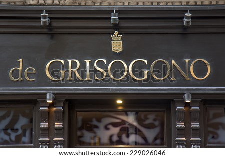 LONDON, UK - OCTOBER 17, 2014: De Grisogono sells an array of jewellery and giftware items as well as offering a repair and alteration service in Bond street, London. - stock photo