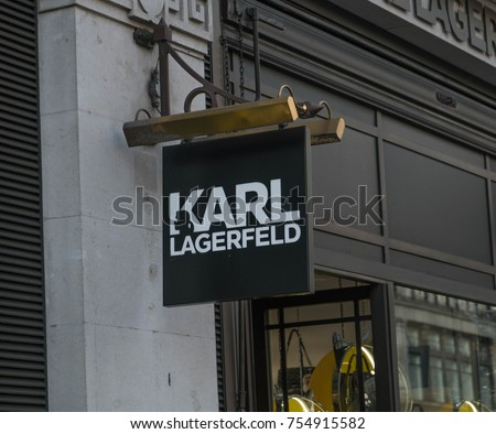 LONDON, UK - October 29, 2017: Karl Lagerfeld Logo