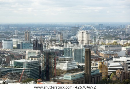 LONDON, UK - OCTOBER 14, 2015. London panorama Westminster side of the city and London eye - stock photo