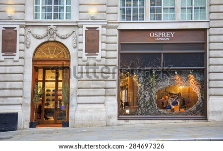LONDON, UK - OCTOBER, 14, 2014: OSPREY LONDON is the principal brand name of OSPREY GRAEME ELLISDON Ltd, the English privately owned luxury leather, lifestyle and retail company. - stock photo