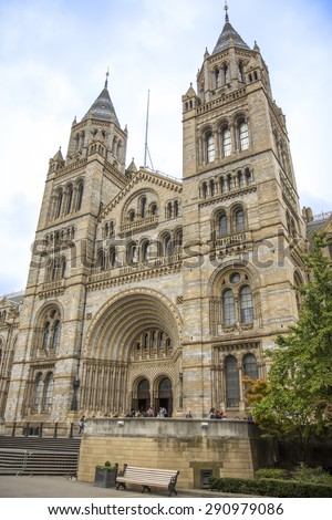 LONDON, UK - OCTOBER 12, 2014: People visit Natural History Museum in London. With more than 4.1 million annual visitors it is the 4th most visited museum in the UK. - stock photo