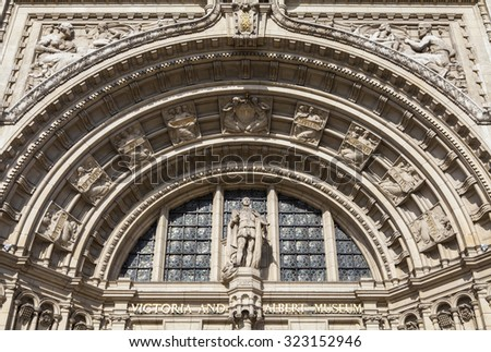 LONDON, UK - OCTOBER 1ST 2015: The intricate artistic detail on the exterior of the historic Victoria and Albert Museum in London, on 1st October 2015. - stock photo