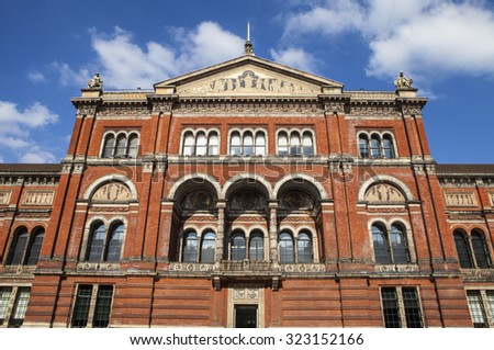 LONDON, UK - OCTOBER 1ST 2015: The Victoria and Albert Museum viewed from the inner Courtyard in London, on 1st October 2015. - stock photo