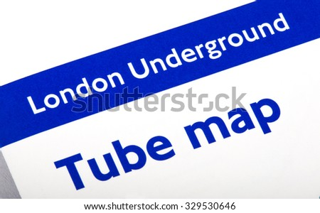 LONDON, UK - OCTOBER 19TH 2015: A close-up of the title of the London Underground Tube Map Leaflet, on 19th October 2015.