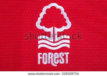 LONDON, UK - OCTOBER 15TH 2015: The club crest on a Nottingham Forest FC shirt, on 15th October 2015. - stock photo