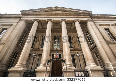 LONDON, UK - October 25th, 2015 - The Law Society headquarters governing solicitors and barristers in England and Wales is situated in Chancery Lane, London, taken on October 25th, 2015 - stock photo