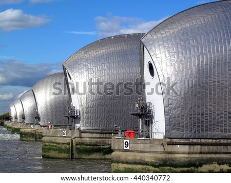 London, UK, October 4 2009 - The Thames Barrier built between 1974-82 which is the world's second largest flood control barrier