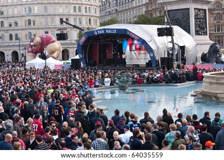 LONDON, UK- OCTOBER 30: Thousands of American football fans fill Trafalgar Square at a National Football League Fan Rally, before the 4th Annual Match at Wembley Stadium on Oct. 30, 2010 in London, UK.