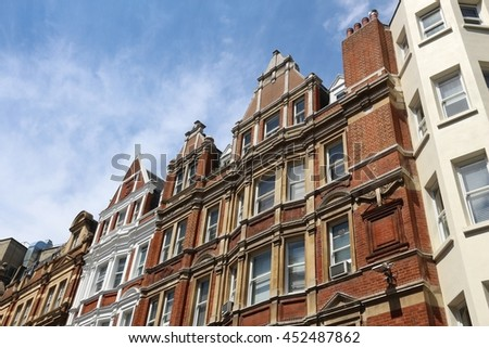 London, UK - residential architecture at Irving Street, City of Westminster. - stock photo
