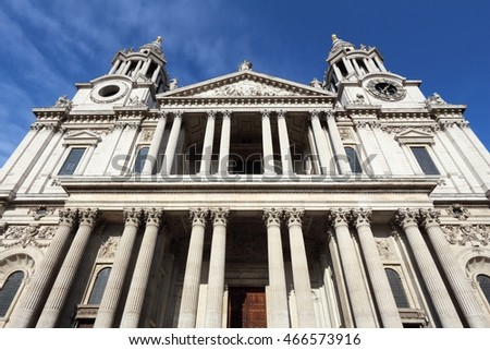 London, UK. Saint Paul's Cathedral facade architecture.