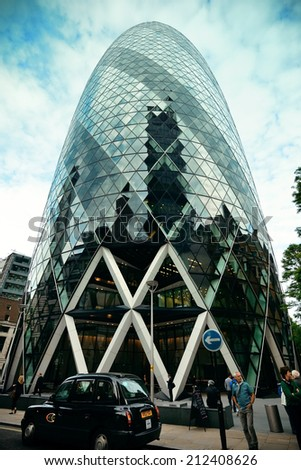LONDON, UK - SEP 27: Financial district office buildings in street on September 27, 2013 in London UK London is the world's greatest foreign exchange market with major trade conducted in the district. - stock photo