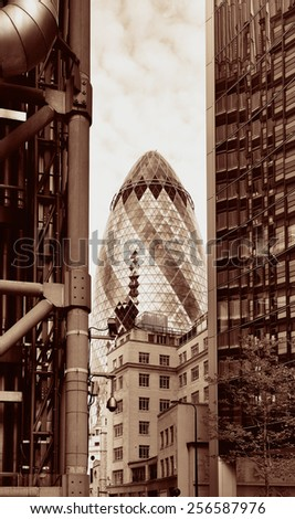LONDON, UK - SEP 27: Financial district office buildings in street on September 27, 2013 in London, UK. London is the world's greatest foreign exchange market with major trade conducted  - stock photo
