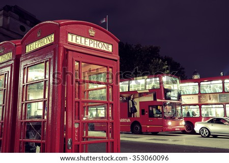 LONDON, UK - SEP 27: London Street view with iconic telephone box on September 27, 2013 in London, UK. London is the world's most visited city and the capital of UK. - stock photo