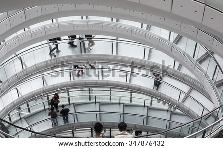 LONDON UK - SEPTEMBER 19, 2015 - City Hall Staircase, Mayor of London - stock photo