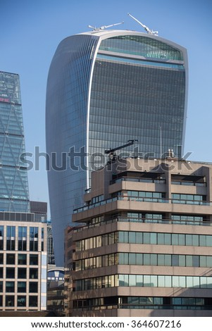 LONDON, UK - SEPTEMBER 10, 2015: City of London view from the river Thames