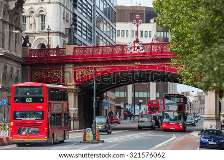 LONDON, UK - SEPTEMBER 19, 2015: Holborn Viaduct, 1863-1869.  Building cost was over  £2 million (over  £165 million in 2014) - stock photo