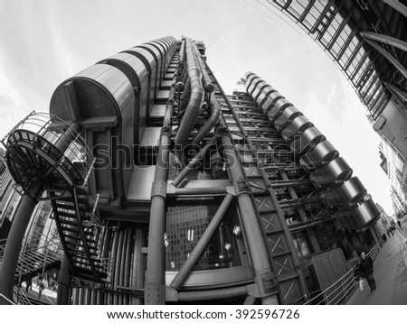 LONDON, UK - SEPTEMBER 29, 2015: Lloyd of London is an iconic high tech skyscraper designed by architect Richard Rogers seen with fisheye lens in black and white