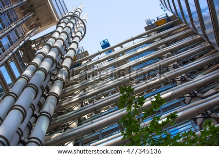 LONDON UK - SEPTEMBER 19, 2015:  Lloyds bank building facade