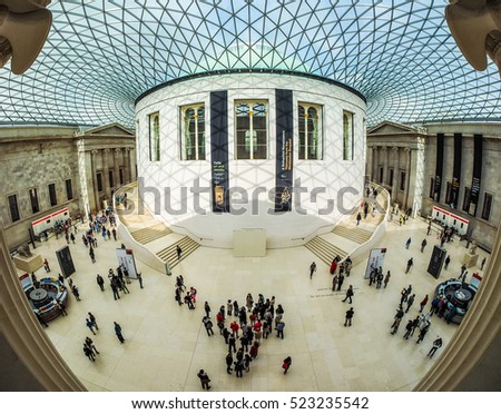 LONDON, UK - SEPTEMBER 28, 2015: Tourists in the Great Court at the British Museum designed by architect Lord Norman Foster opened in year 2000 seen with fisheye lens (HDR)