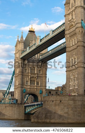 LONDON, UK - SEPTEMBER 19, 2015: Tower bridge at sunset