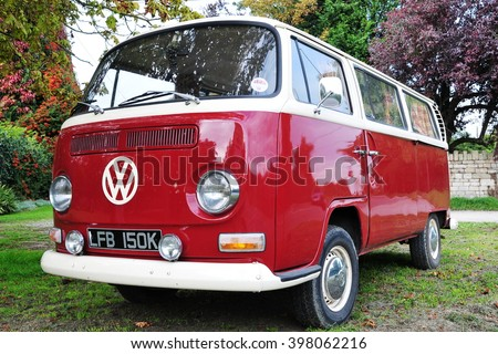 London, UK - September 18, 2010: View of a 1960s era VW Transporter Van Type 2 or Kombi T2 parked on a driveway. The famous German manufactured auto is popular among motor enthusiasts and collectors. - stock photo