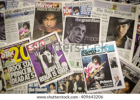 London, UK. 22th April, 2016.British Newspaper Front Pages following the Death of Prince at his Paisley Park home, Minneapolis. - stock photo