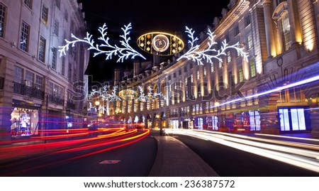LONDON, UK - 7TH DECEMBER 2014: The beautiful Regent Street Christmas Lights in London on 7th December 2014.