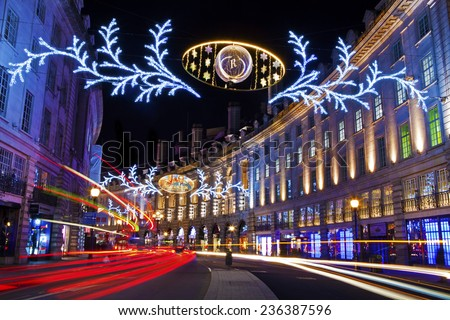 LONDON, UK - 7TH DECEMBER 2014: The beautiful Regent Street Christmas Lights in London on 7th December 2014. - stock photo