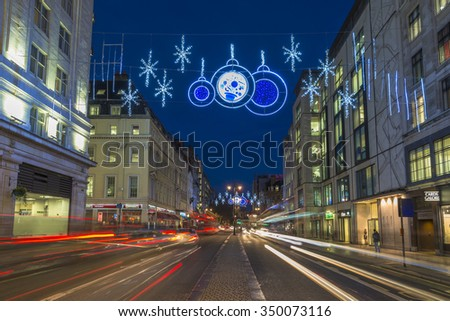 LONDON, UK - 11TH DECEMBER 2015: The Strand which forms part of the Northbank business improvement district in London is decorated with Christmas lights for the first time ever