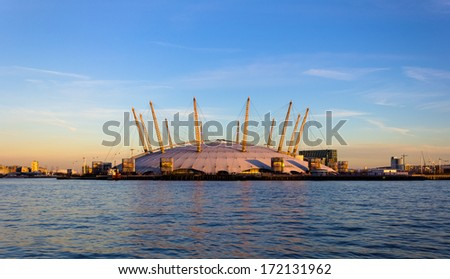 LONDON, UK - 19th JANUARY 2013: The outside of the O2 Arena in London from across the River Thames - stock photo