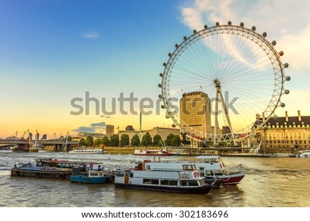 London, UK, 25 th July 2013 , 2015, London Eye at sunset in London. - stock photo