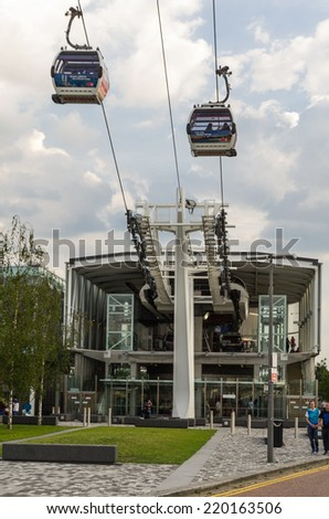 LONDON, UK - 26th JULY 2014: ,Thames cable car by Emirates Air Line in London on 26 July 2014 - stock photo