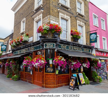 LONDON, UK - 20TH JULY 2015: The outside of The Elephants Head pub in Camden High Street during the day - stock photo