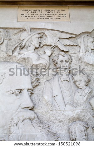 LONDON, UK - 24TH MAY 2012: Charles Dickens mural in Devonshire Terrace in London.  Dickens lived at 1 Devonshire Terrace in London.  Whilst living there, he wrote six of his principal works. - stock photo