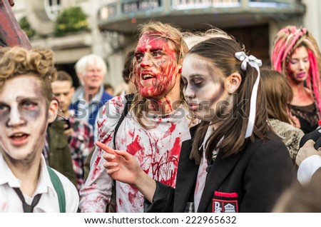 London, UK - 11 th  OCTOBER 2014 World Zombi day - London 2014